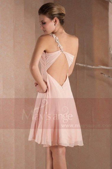 Long cocktail dress - Short Pink One-Shoulder Cocktail Dress-Open Back - C196 #1