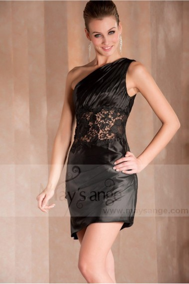 Short evening dress - BLACK COCKTAIL DRESS WITH LACE AND ONE SHOULDER - C250 #1