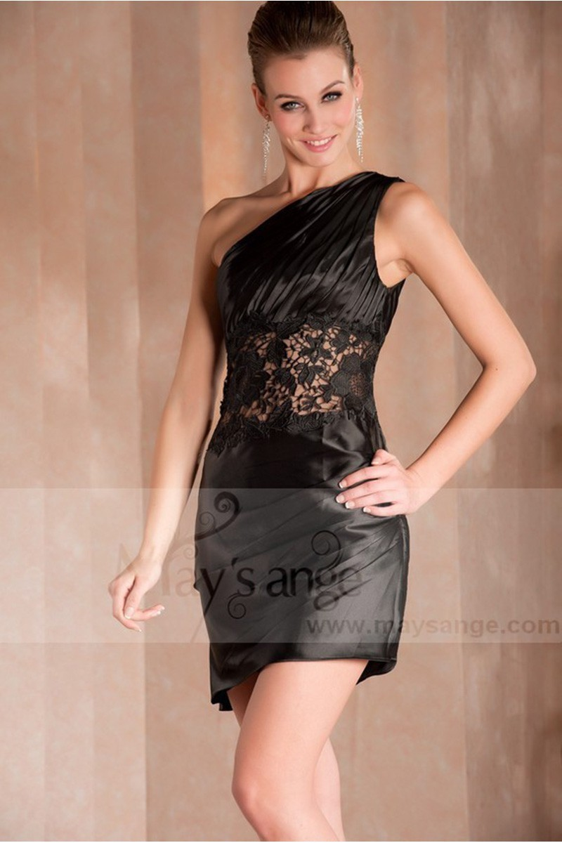 65fd14258a2e BLACK COCKTAIL DRESS WITH LACE AND ONE SHOULDER - Ref C250 - 01