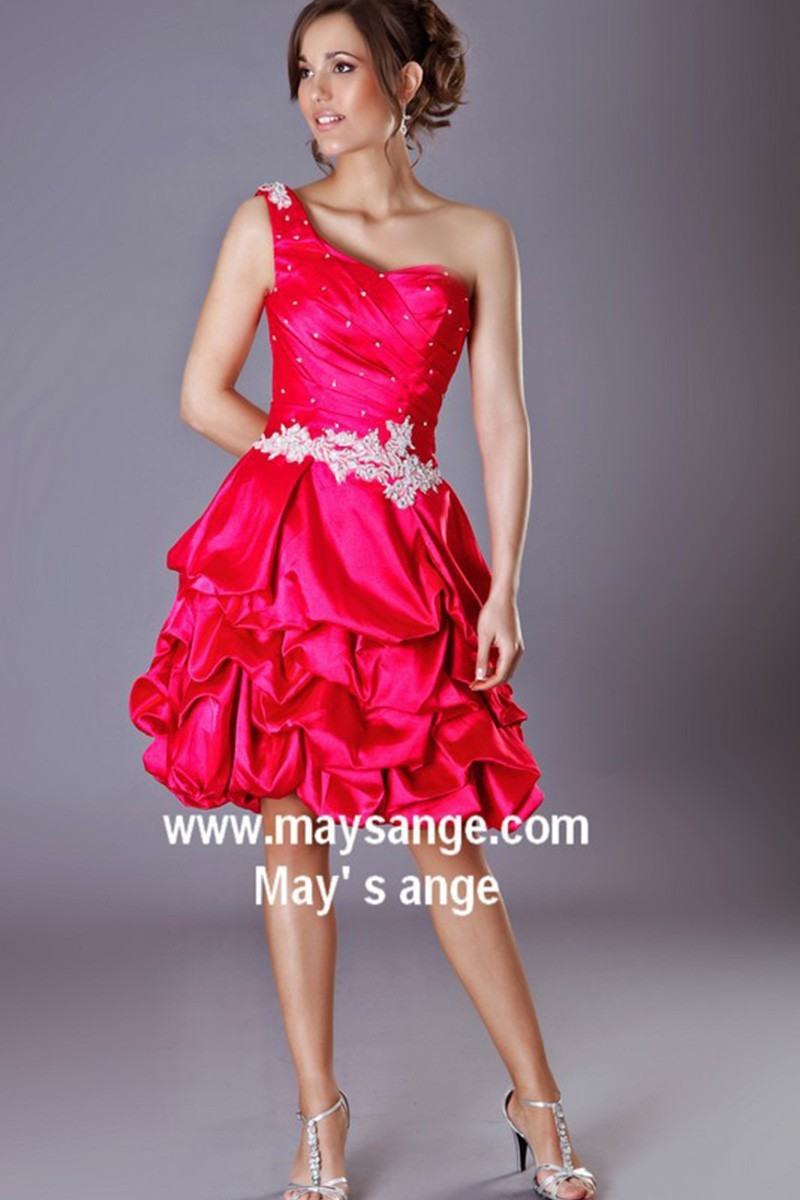Short One-Shoulder Ball Gown With Pearls - Ref C212 - 01