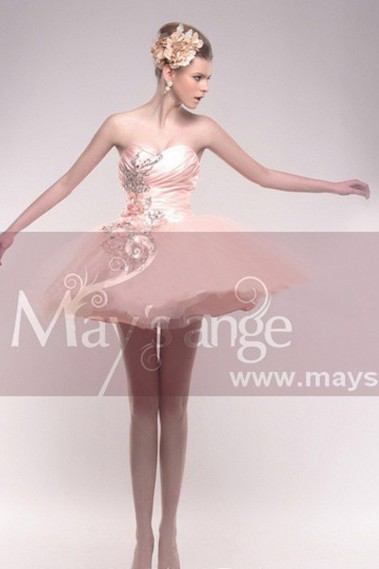 Robe de cocktail cygne rose - C211 #1