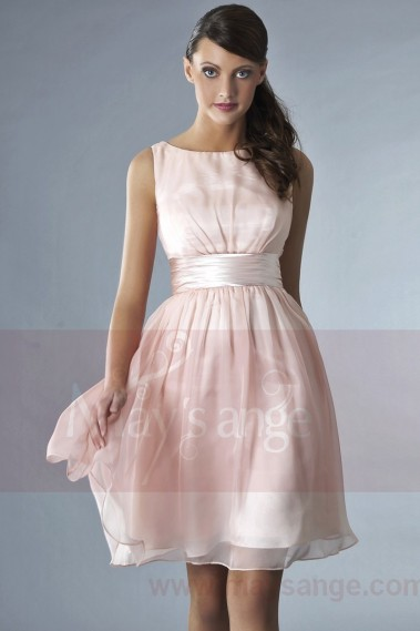 Straight cocktail dress - Short Pink Party Dress With Satin Belt - C134 #1