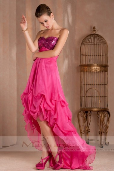 Elegant Evening Dress - A PRETTY COCKTAIL DRESS FOR WEDDING WITH SEQUINED BODICE AND ASYMETRIC STYLE - C271 #1
