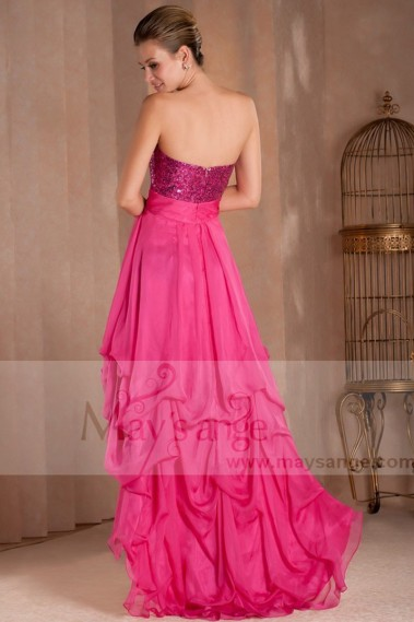 Pink evening dress - A PRETTY COCKTAIL DRESS FOR WEDDING WITH SEQUINED BODICE AND ASYMETRIC STYLE - C271 #1