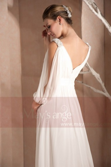 Long White Dress With Draped V Neck And Cutout Long Sleeve - L274 #1
