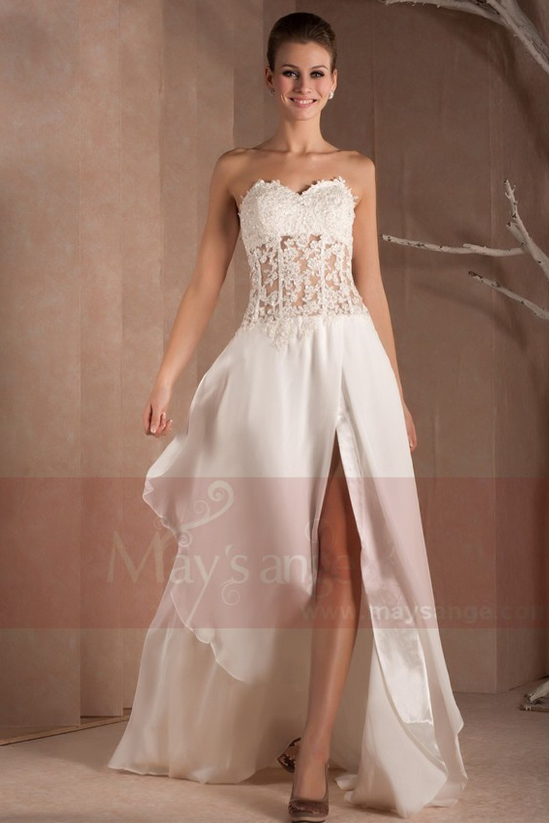 Strapless wedding dress chic transparent lace and muslin