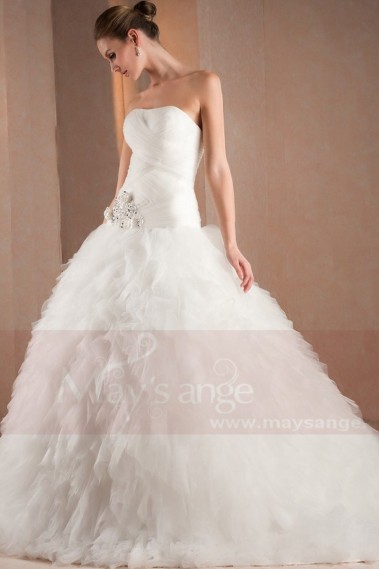 Bouffant wedding dress - Long train wedding dress Snow M302 - M302 #1