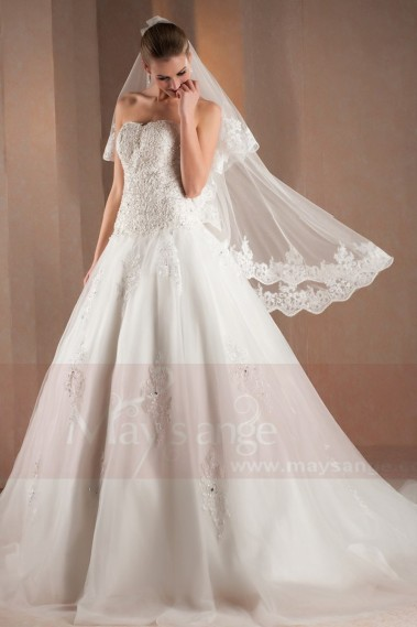 White wedding dress - Vintage wedding dress Brittany with beautiful embroideries M305 - M305 #1