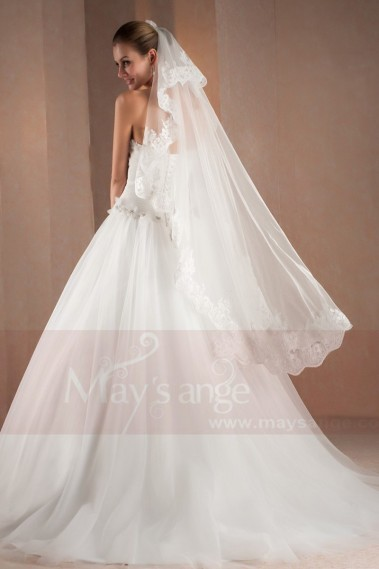 Long wedding dress - A-Line Sweetheart White Strapless Wedding Dress With Draped - M303 #1