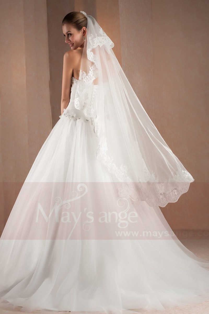 A-Line Sweetheart White Strapless Wedding Dress With Draped - Ref M303 - 01