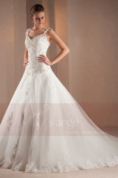 White wedding dress - Lace wedding dresses Roxane with 2 straps and long train M304 - M304 #1