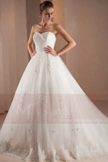 Long wedding dress - Wedding dress bustier Lindsey - M306 #1