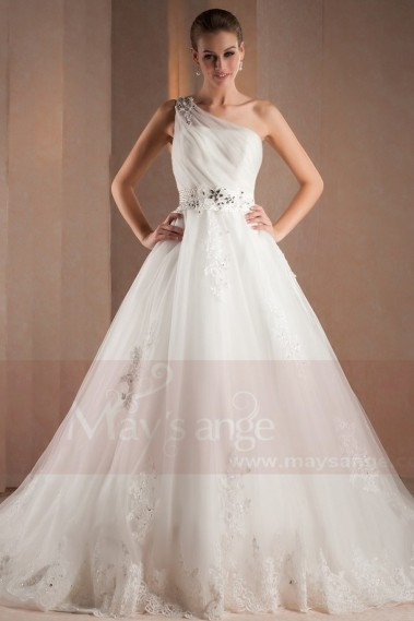 White wedding dress - Wedding dress True Love with one strap and glitters on the waist M307 - M307 #1
