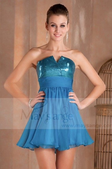 Fluid cocktail dress - Short Sleeveless Blue Chiffon Prom Dress - C251 #1