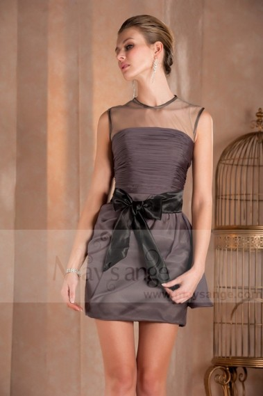 Short Cocktail Dress With Illusion Bodice - C254 #1