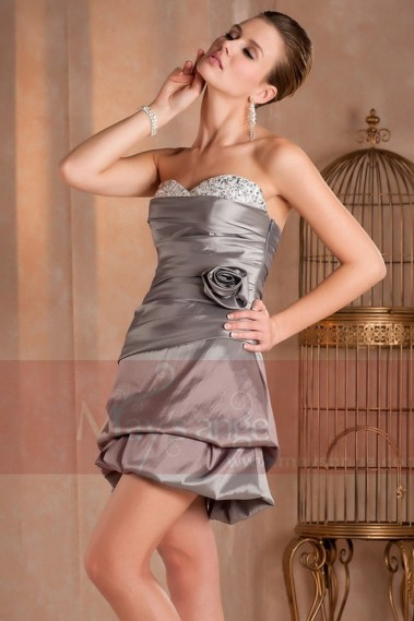 Short evening dress - SEXY SILVER DRESS FOR WEDDING COCKTAIL - C255 #1