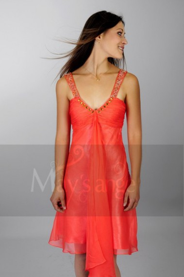 robe de cocktail Corail - C026 #1