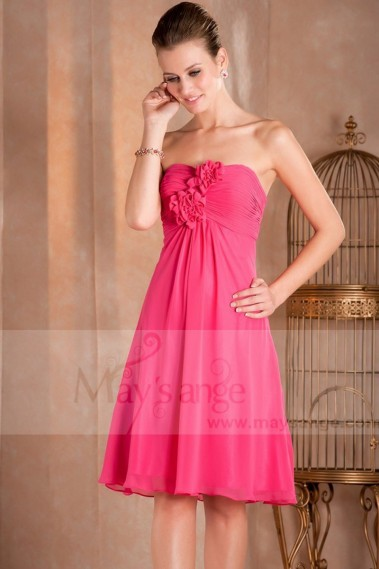 Long cocktail dress - Short A-Line Strapless Pink Fuschia Party Dress - C259 #1