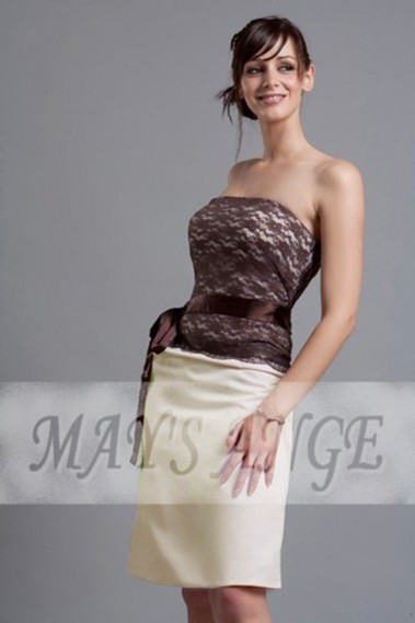 Long cocktail dress - Lace Brown Short Evening Dress - C027 #1
