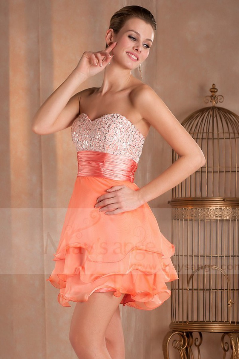 Robe de cocktail courte Mandarine orange douce en mousseline - Ref C275 - 01