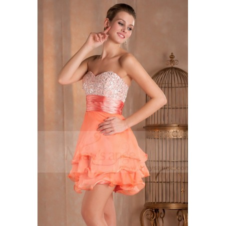 Robe de cocktail courte Mandarine orange douce en mousseline - Ref C275 - 02
