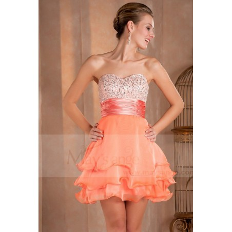 Robe de cocktail courte Mandarine orange douce en mousseline - Ref C275 - 05