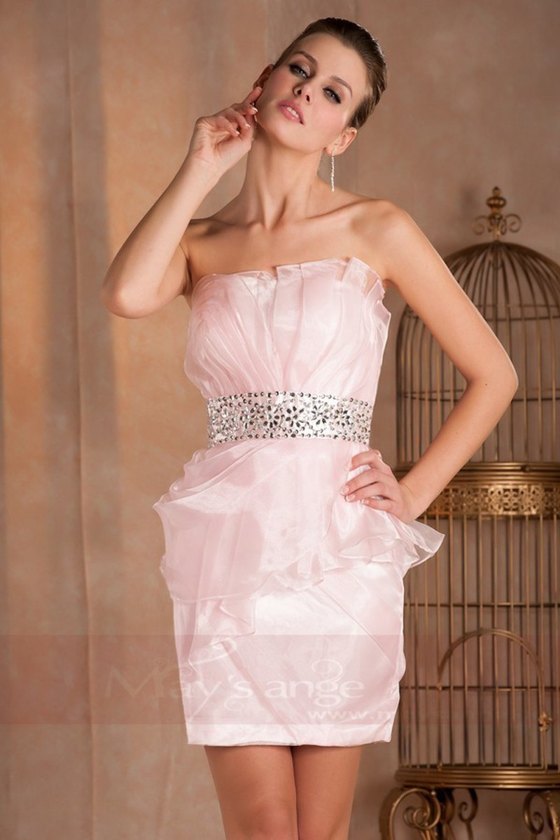 Robes rose bustier pour invite mariage coupe ajuste - Ref C266 - 01