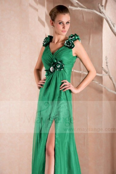 Green evening dress - LONG COCKTAIL DRESS GREEN COLOR WITH STRAPS - L280 #1