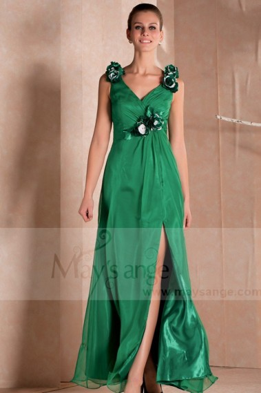 LONG COCKTAIL DRESS GREEN COLOR WITH STRAPS - L280 #1