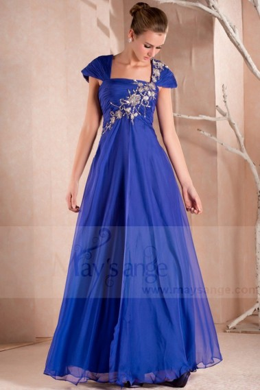 Fluid Evening Dress - Blue Sparkly Party Maxi Dress With Sleeves - L281 #1