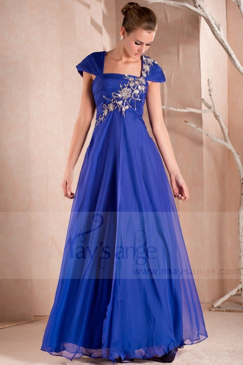 Blue Sparkly Party Maxi Dress With Sleeves - Ref L281 - 01