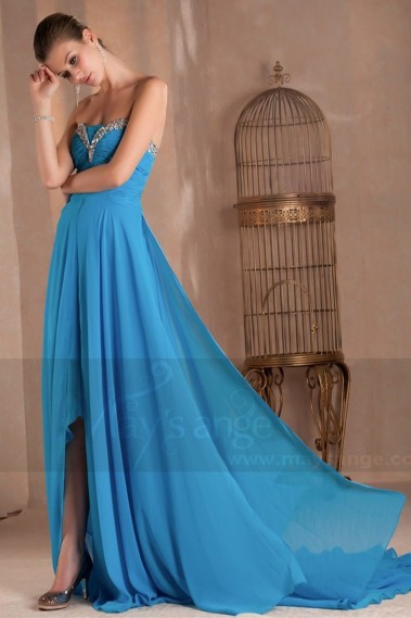 BLUE EVENING DRESS WITH SEQUIN BODICE AND SLIT - L284 #1