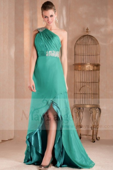 Evening Dress with straps - Beautiful Asymmetric Cocktail Dress With One Shiny Strap - L286 #1