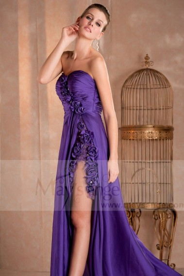 Strapless Evening Dress - Long cut dress purple evening Firefly - L290 #1