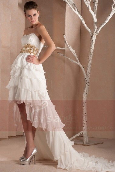 Strapless Flamenco Style Wedding Dress - L292 #1