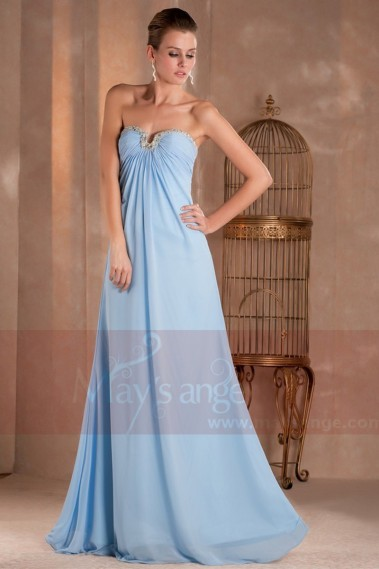 Strapless Evening Dress - Cinderella Long Blue Strapless Evening Dress - L294 #1