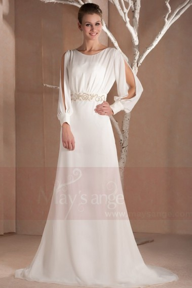Snow winter long evening dress with sleeves - L300 #1