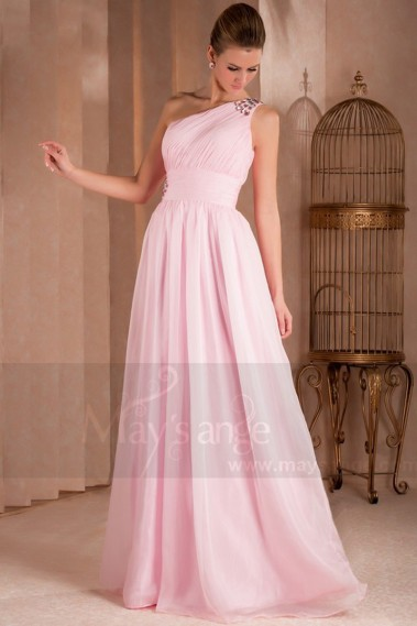 One Shoulder Plus Size Pink Evening Dress With Rhinestones - L303 #1