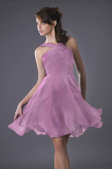 robe de cocktail courte passiflore parme