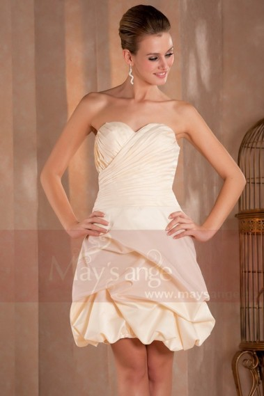 Long cocktail dress - Strapless Champagne Short Prom Dress - C267 #1