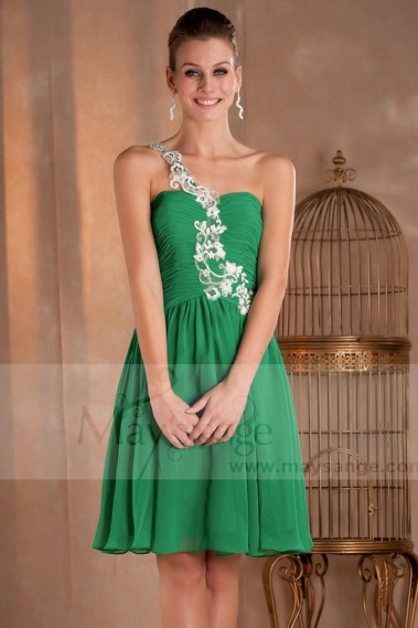 Green cocktail dress - Green Short Cocktail Dress With One embroidered Strap - C272 #1