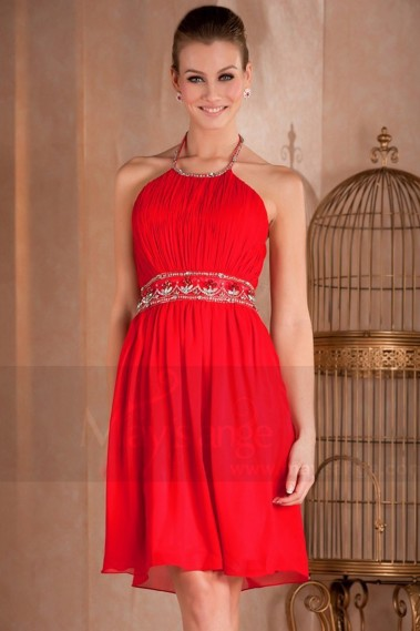 Short Red Party Dress With Rhinestones Belt - C274 #1
