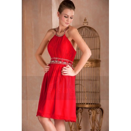 Robes de cocktail calice rouge en mousseline - Ref C274 - 03
