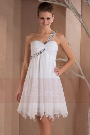 Long cocktail dress - Open-Back White Short Party Dress With One Glitter Strap - C277 #1