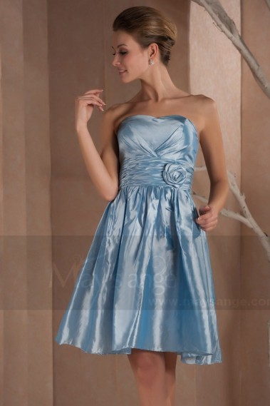 Robe de cocktail dos nu - Robe de cocktail romy en taffetas bleu ciel - C276 #1