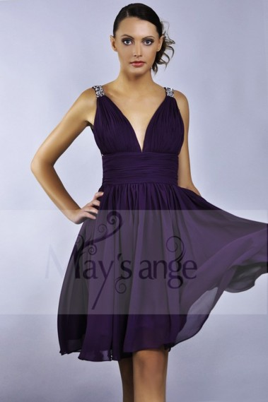 Long cocktail dress - Purple Short Cocktail Dress - C035 #1