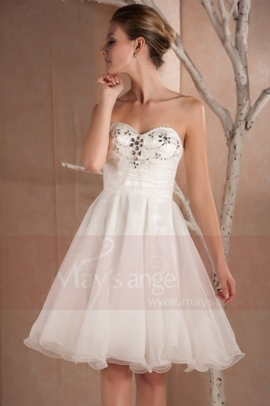 WHITE EVENING DRESS NECKLINE WITH CRYSTAL BEADS - C280 #1