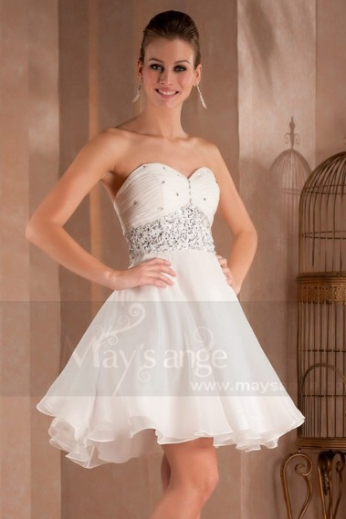 Elegant Evening Dress - SHORT WHITE DRESS WITH DRAPED SWEETHEART NECKLINE AND PEARLS - C284 #1
