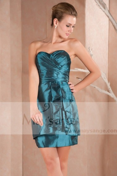 Straight cocktail dress - Short Green Blue Strapless Cocktail Dress - C286 #1