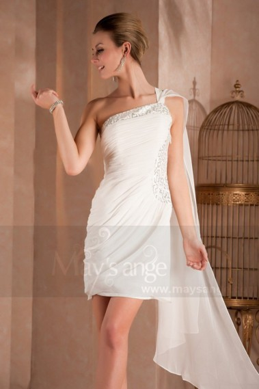 Fluid cocktail dress - One-Shoulder Short White Graduation Dress - C287 #1